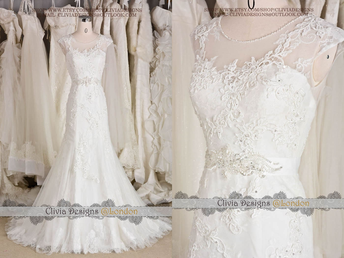 2016 Most Beautiful Vintage Lace Wedding By CliviaDesigns