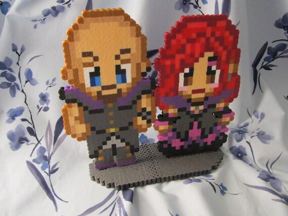 Pixel Art Wedding Cake : Custom Pixel People Bride and Groom Wedding Cake