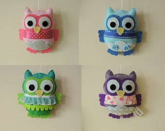 Felt owl decoration. Nursery decoration. Felt owl Baby shower decoration. Children's party decoration.