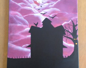 Fantasy sky/dracula theme acrylic painting on a 16x20 stretched canvas by Bradley Pearson