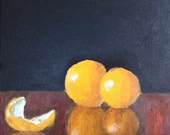 FREE SHIPPING! Orange reflection acrylic painting on a 8x8 inch stretched canvas by Bradley pearson