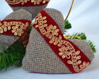 Handmade Tweed and Felt Heart Ornament, Christmas Ornament, Valentine