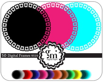 50 Digital Frames, Circle Frame Clipart, Circle Clipart, Black Circle, Round Frame, Digital Frames and Borders, Instant Download, Xmas Gift