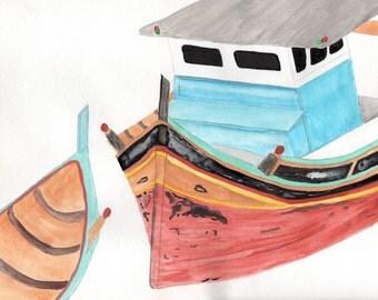 Fishing Boat, Nautical Painting Print