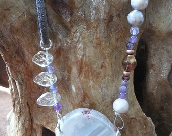 Three Leaves Purple Crystal Necklace