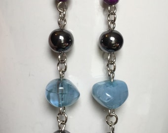 Long Blue And Purple Accented Dangle Earrings