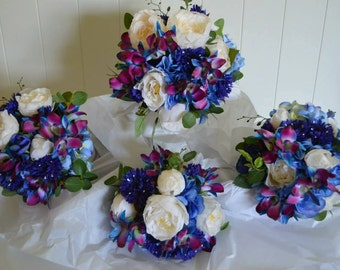 Blue/Purple Dendrobium Orchid with Hydrangeas,Peonies,Cornflower & Eucalyptus