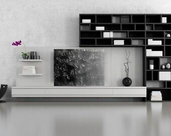 Modern Design Black Silver Gray Ombre  Multi-Medium Original Art