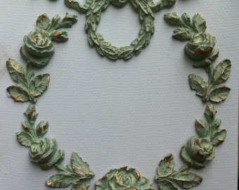 Shabby chic wreath six mouldings resin appliques with Farrow and Ball paint from Vintique Chic Mouldings