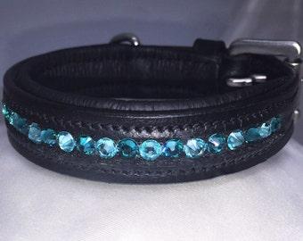 "Leather Padded Collar ""Aqua"""