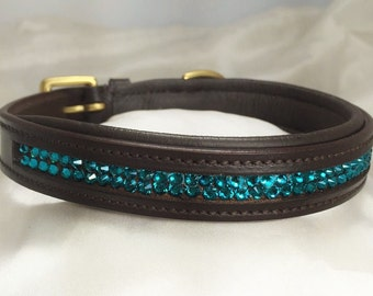 "Leather Padded Dog Collar ""Marianas"""