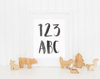 Hand Lettered 123 ABC Digital Nursery Print