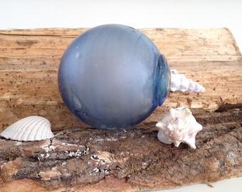 1 Antique Blue HANDBLOWN Glass Float - Antique Fishing Net Glass Float - Glass Float - Antique Glass Floats - Buoy Balls - Glass