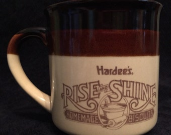 SALE 1989 Hardee's Rise and Shine Mug Homemade Biscuits Mug, Hardees Mug, Hardees Cup, vintage restaurant mug, vintage hardees mug, coffee m