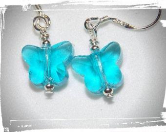 10mm Crystal Butterfly Earrings in Bright Blue