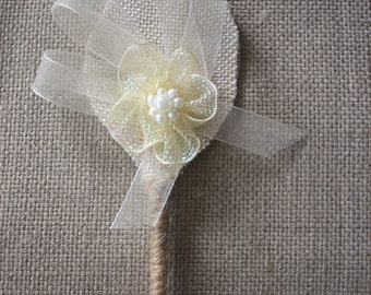 Set of 6  Rustic Boutonniere ,Groom and groomsmen boutonniere, Wedding Boutonniere