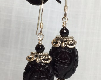 Onyx bead and sterling silver earrings