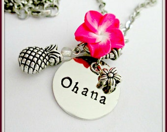 SUMMER SALE*****Disney Lilo and Stitch Inspired Ohana necklace