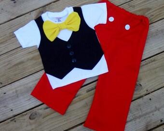 Boy's Mickey Mouse Vest & Bow Tie Pants Set