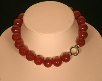 Agate red and silver necklace solid 925