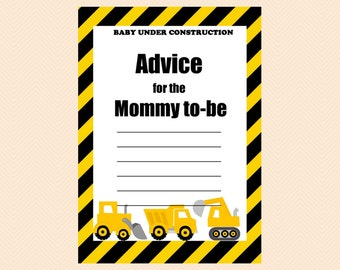 Advice Cards for Baby Shower, Advice for Mummy, Advice for new mom, Construction Baby Shower Games Printable, Boy Baby Shower Games TLC20
