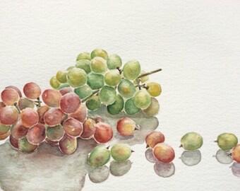 Original watercolor painting of grapes,kitchen art,grapes painting,still life watercolor painting,wall decor,watercolor art