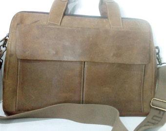 Vintage durable  brow  Hippieclan  leather bag