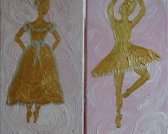 metallic ballerina on pink swirls
