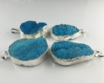 Blue Quartz Druzy Pendant druzy quartz Silver plated necklace making Natural Gemstone Pendant Raw Crystal Quartz stone Drusy Druzy Charming