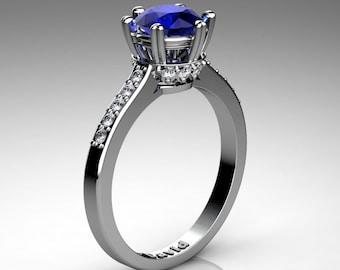 Classic Armenian 14K White Gold 1.0 Carat Blue Sapphire Diamond Solitaire Engagement Ring R1003-14KWGDBS