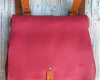 Leather Backpack / Messenger Bag / Pink leather bagpack/ Convertible / Pink bag