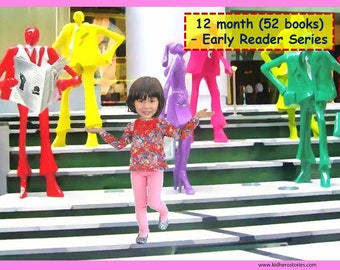 52x Personalized Children's Books with Photo- 12 mth (52 titles) set of personalized kids eBooks for Early Readers with photo and name.