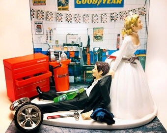 Funny Mechanic Wedding Cake Topper