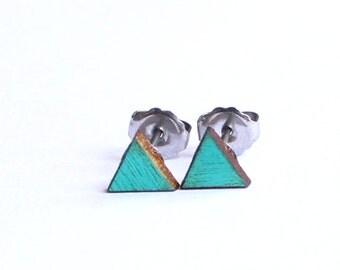 Geometric Earrings, Triangle Earrings, Tiny Earring Studs, 6mm Earrings, Turquoise Earring Studs, Eco Friendly