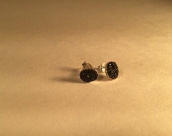 Oval Druzy Charcoal Earring Studs