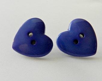 purple heart- button earrings