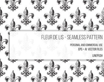 SALE! Fleur De Lis Seamless Vector Pattern Digital Paper Wallpaper Background Royalty Lily Flower Fleur de lis, Fleur De lys, Fleur-de-lis
