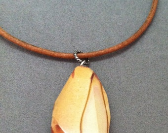Wonderstone Jasper Pendant on Brown Leather Cord