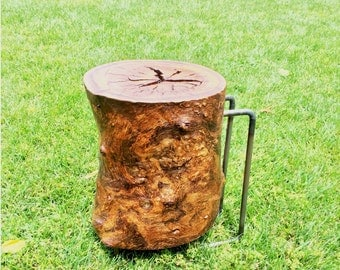 Rustic Repurposed Stump Wood Trunk Stool / Side Table with Raw Steel Legs. Wooden Chair, Stool, Table. Salvaged wood