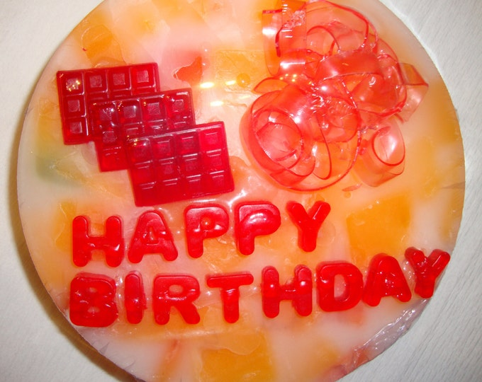 Happy Birthday Soap Cake - Personalized Custom Designed Scented Aromatic Glycerin Soap Cake - Table Centerpiece - Unique Gift - Luxury Gift