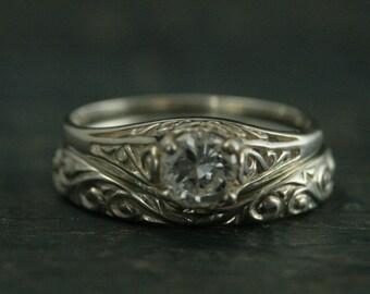 The Cinderella Bridal Ring Set--Silver Antique Style Engagement Ring and Flourish Wedding Band Set--Your Choice of Stone--Handmade Wedding