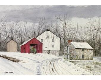 John Deere Winter Farm Landscape, Art Print, Watercolor Painting
