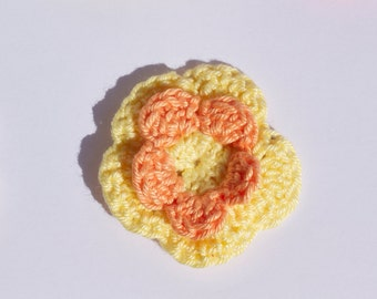 Crochet Flower Daffodil inspired - Badge / hair clip / keychain