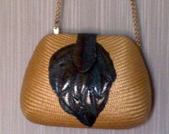 Handbag natural straw small hardbodied with leather leaf detail