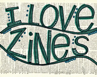 I love zines postcard - perfect for zinesters!