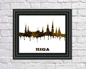Riga Skyline Print Latvian City Skyline Riga Art Print Home Decor Riga Silhouette poster