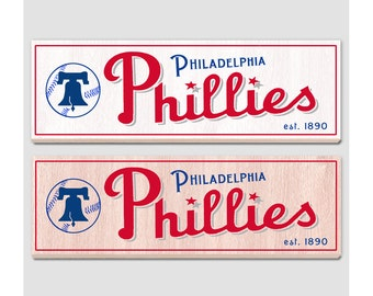 "Retro Philadelphia Phillies wood sign - 7"" x 22"" - Phillies fan wall hanging - Boys room Man cave Sports Bar decor  Fathers Day gift for Dad"