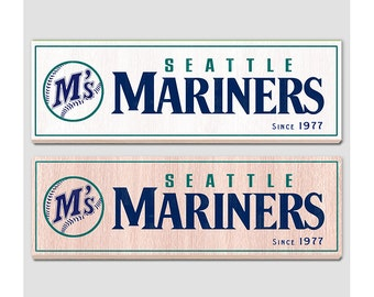 "Seattle Mariners wood sign - 7"" x 22"" - Seattle Mariners fan wall hanging - Boys room Man cave Sports Bar decor -  Fathers Day gift for Dad"