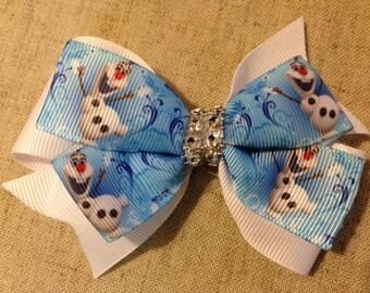 "4"" Olaf snowman Frozen bling rhinestone powder blue & white grosgrain ribbon hair bow birthday party over the top ott pinwheel stacked"
