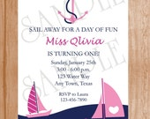 Custom Printed Pink Nautical Sailing, Birthday Party, Baby Shower Wedding Invitations - 0.95 each with envelope